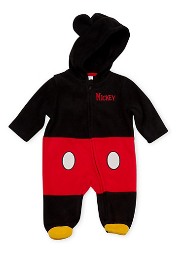 Baby Boy Mickey Mouse Footed Bodysuit in Fleece,BLACK,large