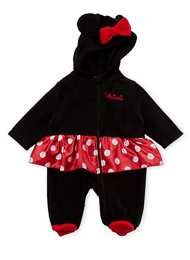 Baby Girl Fleece Footed Bodysuit with Hood and Minnie Graphics,BLACK,large