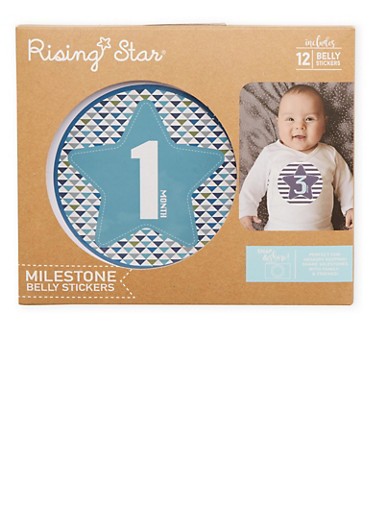 Baby Boy Set of 12 Milestone Age Belly Stickers,BLUE,large