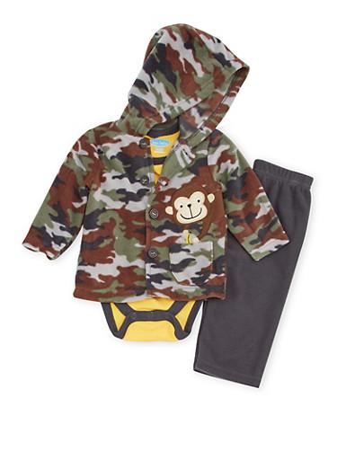 Baby Boy Bodysuit with Fleece Jacket and Pants Set,OLIVE,large