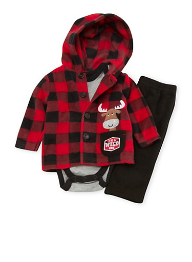 Baby Boy Three Piece Set with Buffalo Check and Wild One Print,RED,large