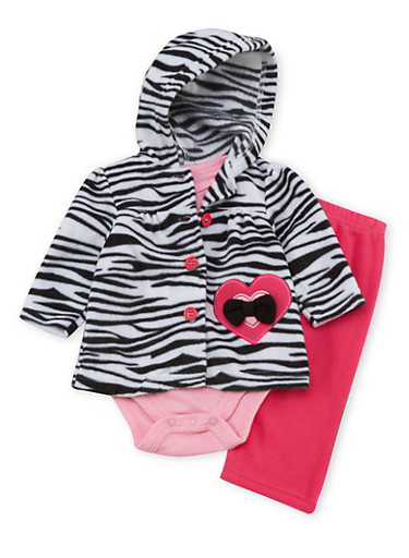 Baby Girl 3 Piece Set in Fleece with Zebra Print,FUCHSIA,large