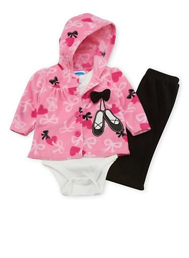 Baby Girl 3 Piece Set in Fleece,FUCHSIA,large