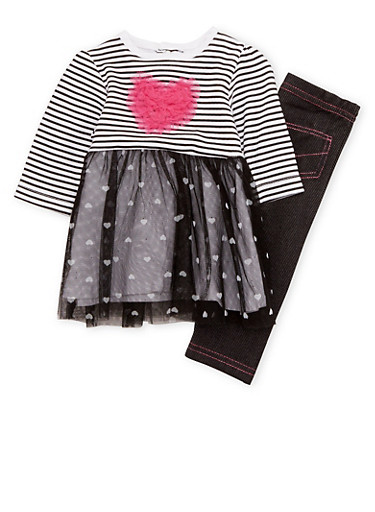 Baby Girl Printed Dress and Jeggings Set,BLACK,large
