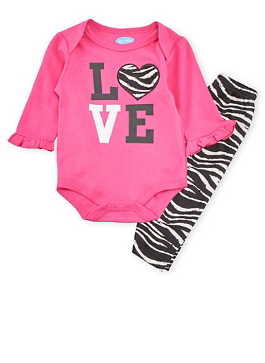 Baby Girls Love Bodysuit and Zebra Leggings Set,FUCHSIA,large