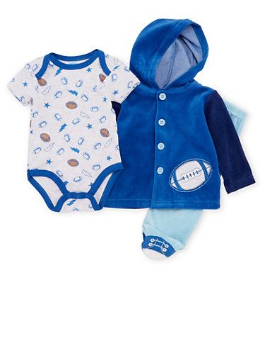 Baby Boy Fleece Jacket and Bodysuit with Footed Pants Set,ROYAL,large