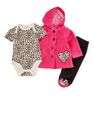 Baby Girl Leopard Print Bodysuit Jacket and Leggings Set,FUCHSIA,large