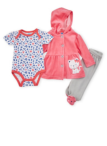 Baby Girl Three Piece Set with Kitty Leopard Print,CORAL,large