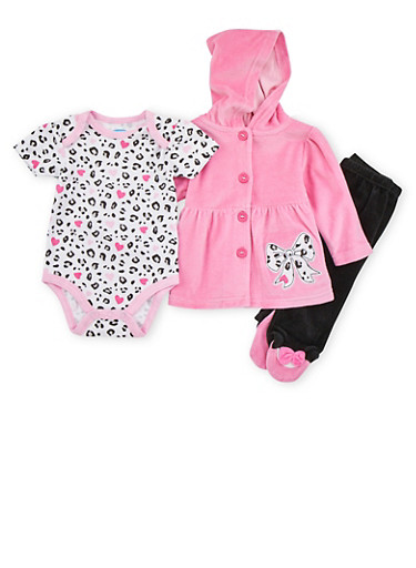 Baby Girl Three Piece Set with Leopard Bow Print,PINK,large