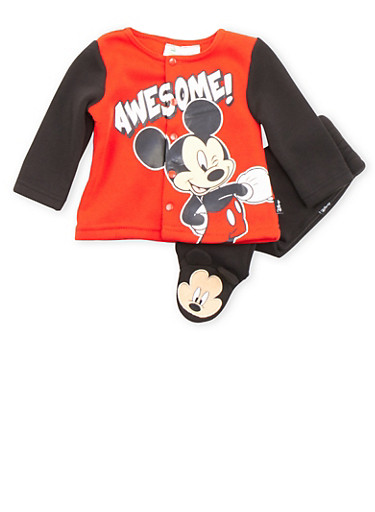 Baby Boy Button Up Top and Joggers with Mickey Graphic,RED,large
