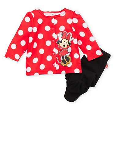 Baby Girl Printed Minnie Mouse Cardigan and Footed Joggers Set,RED,large