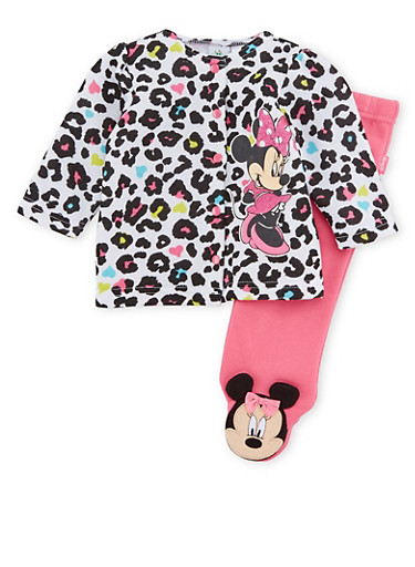 Baby Girl Minnie Mouse Jacket and Footed Leggings Set,FUCHSIA,large