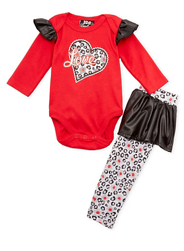 Baby Girl Love Bodysuit and Leggings Set,RED,large