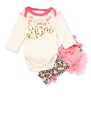 Baby Girl Graphic Bodysuit and Printed Leggings Set,IVORY,large