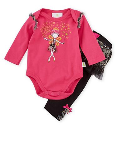 Baby Girl Bodysuit and Tutu Leggings Set,PINK,large