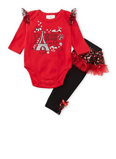 Baby Girl Bodysuit and Tutu Paneled Leggings Set,RED,large