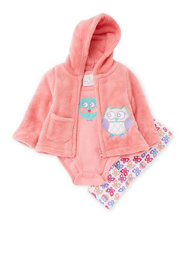 Baby Girl Hoodie with Bodysuit and Leggings,CORAL,large