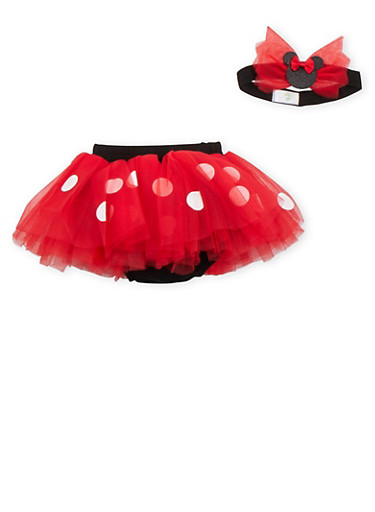Baby Girl Minnie Mouse Tutu and Headband Set,RED,large