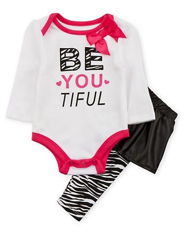 Baby Girl Skirted Leggings and Bodysuit Set,WHITE,large