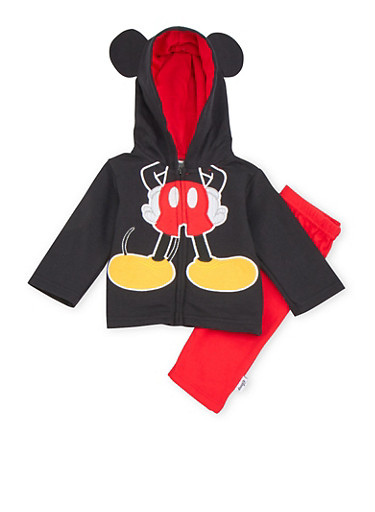 Baby Boy Mickey Mouse Hoodie and Sweatpants Set,BLACK,large