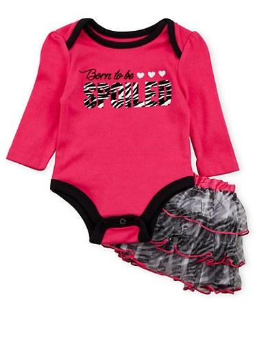 Baby Girl Bodysuit and Tutu Skirt with Spoiled Print,FUCHSIA,large