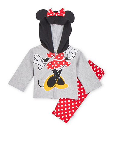 Baby Girl Minnie Mouse Hoodie and Sweatpants Set,GREY,large
