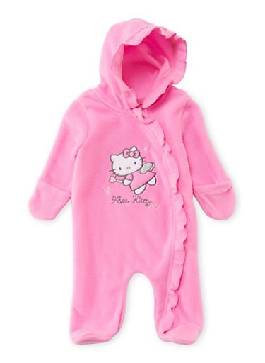 Baby Girl Hello Kitty Footed Bodysuit,FUCHSIA,large
