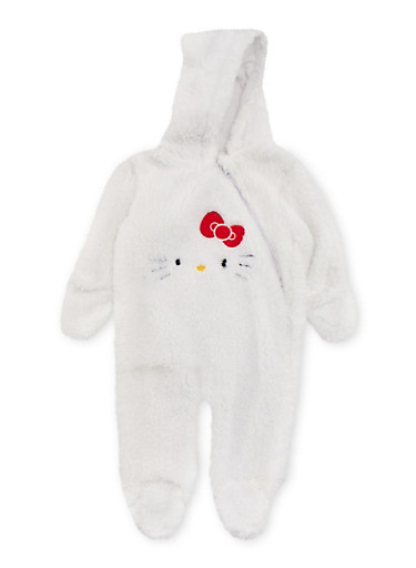 Baby Girl Fuzzy Hello Kitty Footed Bodysuit,WHITE,large