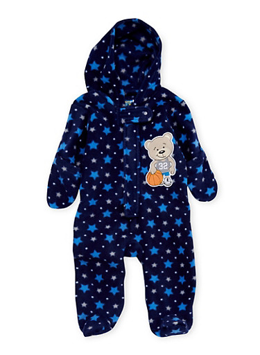 Baby Boy Fleece Footed Bodysuit with Star Print and Bear Patch,NAVY,large