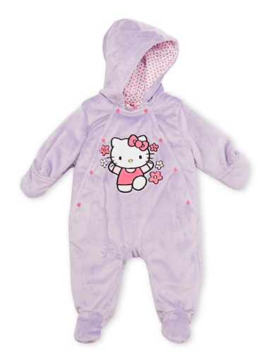 Baby Girl Hello Kitty Footed Bodysuit in Fleece,LILAC,large