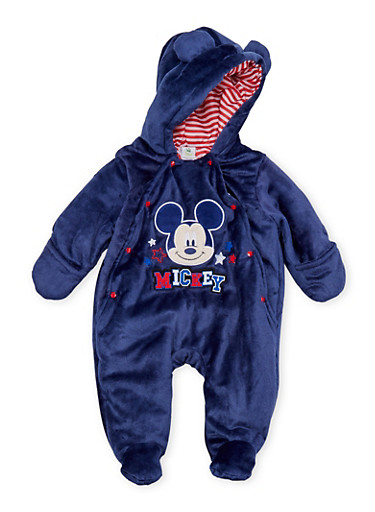 Baby Boy Mickey Mouse Footed Bodysuit in Fleece,NAVY,large