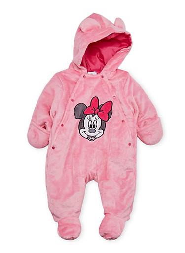 Baby Girl Minnie Mouse Footed Bodysuit in Fleece,PINK,large