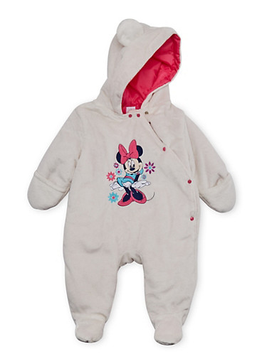 Baby Girl Minnie Mouse Footed Bodysuit in Fleece,WHITE,large