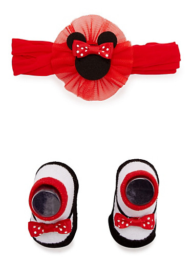 Baby Girl Minnie Mouse Headwrap and Booties Set,RED,large