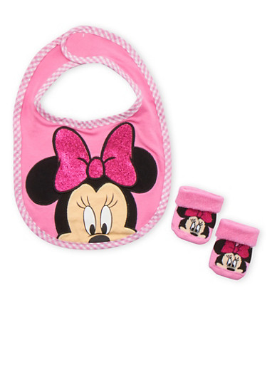 Baby Girl Minnie Mouse Bib and Socks Set,PINK,large