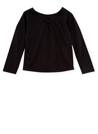 Toddler Girls French Toast Long Sleeve V Neck Tee,BLACK,large