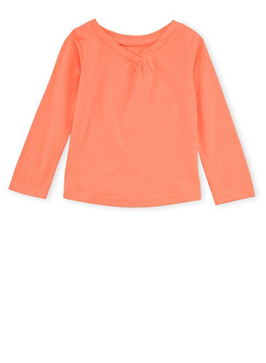 Toddler Girls French Toast V-Neck Top with Long Sleeves,CORAL,large