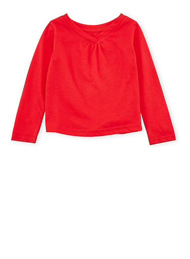 Toddler Girls French Toast V-Neck Top with Long Sleeves,RED,large