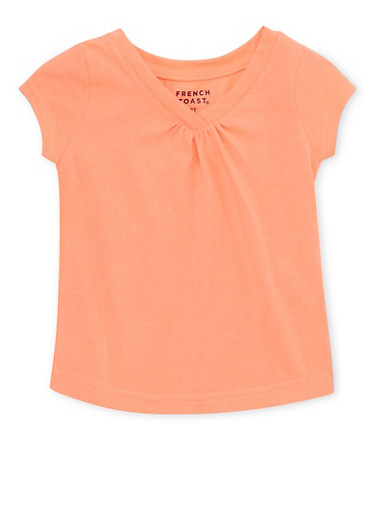 Toddler Girls French Toast Short Sleeve V Neck Tee,CORAL,large