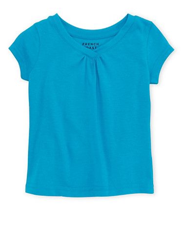 Toddler Girls French Toast Short Sleeve V Neck Tee,TURQUOISE,large
