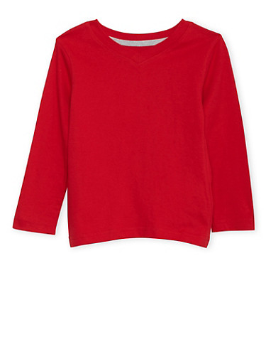 Toddler Boys French Toast Long Sleeve V-Neck Tee in Red,RED,large