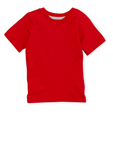 Toddler Boys French Toast Short Sleeve V Neck Tee,RED,large