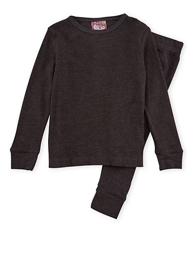 Girls 4-6x Thermal Top and Pants Set,CHARCOAL,large