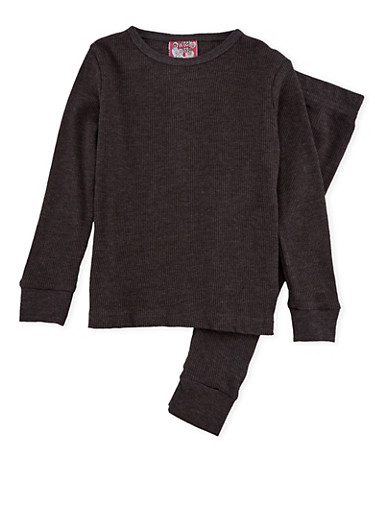 Girls 7-16 Thermal Top and Pants Set,CHARCOAL,large