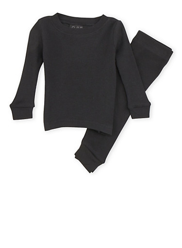 Baby Boy Thermal Top and Pants Set,BLACK,large