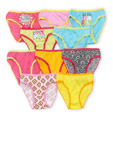 Girls 4-14 Set of 10 Aztec Printed Panties,MULTI COLOR,large