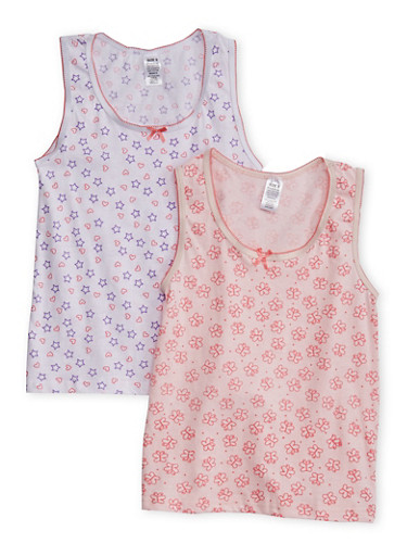 Girls 4-16 Pack of 2 Printed Undershirts,MULTI COLOR,large