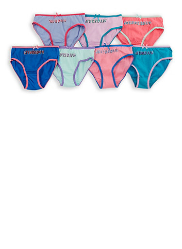 Girls 4-16 Days of the Week Panties 7 Pack,MULTI COLOR,large
