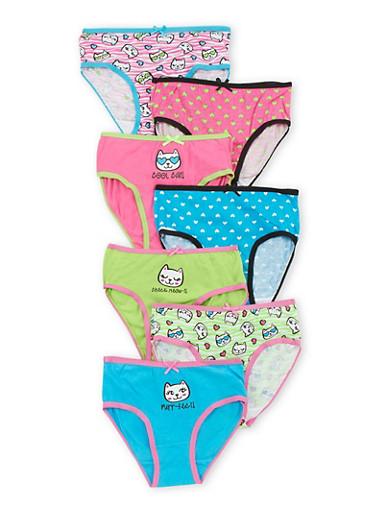 Girls 4-6X Set of 7 Cat Panties,MULTI COLOR,large