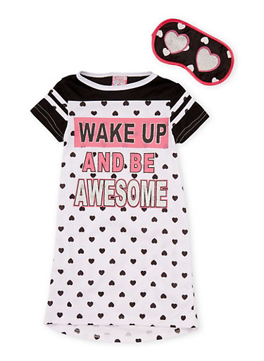 Girls 4-16 Wake Up and Be Awesome Graphic Nightgown with Sleep Mask,WHT-BLK,large
